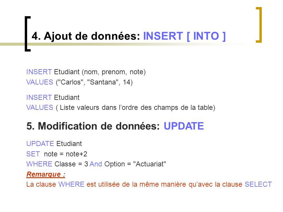 4. Ajout de données: INSERT [ INTO ] INSERT Etudiant (nom, prenom, note) VALUES (