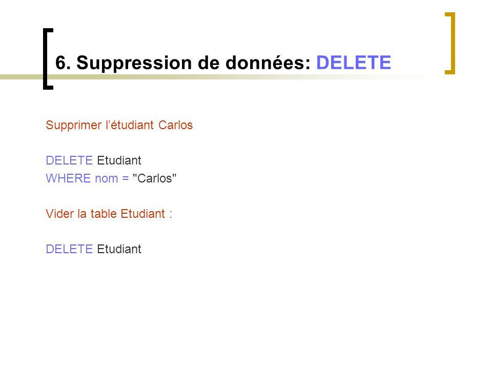 6. Suppression de données: DELETE Supprimer l'étudiant Carlos DELETE Etudiant WHERE nom =