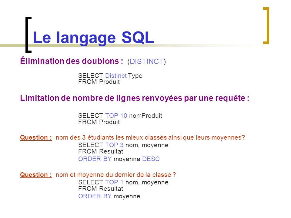 Le langage SQL Élimination des doublons : (DISTINCT) SELECT Distinct Type FROM Produit Limitation de nombre de lignes renvoyées par une requête : SELE