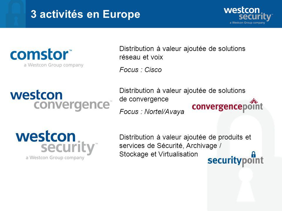 3 activités en Europe Distribution à valeur ajoutée de solutions réseau et voix Focus : Cisco Distribution à valeur ajoutée de produits et services de Sécurité, Archivage / Stockage et Virtualisation Distribution à valeur ajoutée de solutions de convergence Focus : Nortel/Avaya
