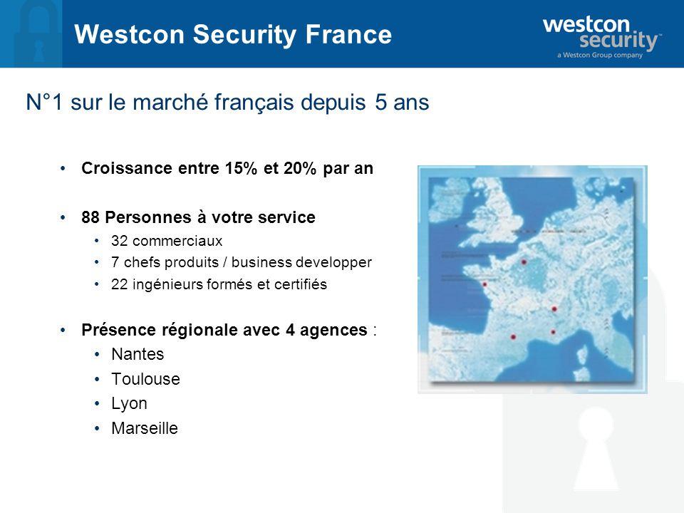 Westcon Security France N°1 sur le marché français depuis 5 ans Croissance entre 15% et 20% par an 88 Personnes à votre service 32 commerciaux 7 chefs produits / business developper 22 ingénieurs formés et certifiés Présence régionale avec 4 agences : Nantes Toulouse Lyon Marseille