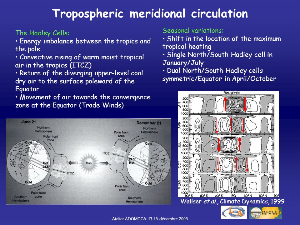 Atelier ADOMOCA 13-15 décembre 2005 Tropospheric meridional circulation The Hadley Cells: Energy imbalance between the tropics and the pole Convective