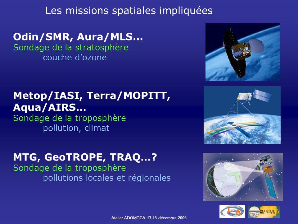 Atelier ADOMOCA 13-15 décembre 2005 Odin/SMR, Aura/MLS… Sondage de la stratosphère couche d'ozone Metop/IASI, Terra/MOPITT, Aqua/AIRS… Sondage de la t