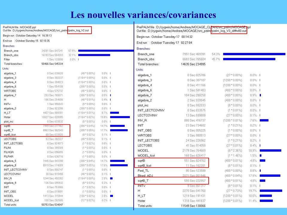 Les nouvelles variances/covariances