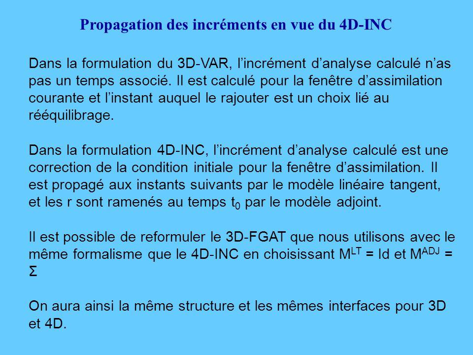 Propagation des incréments en vue du 4D-INC Dans la formulation du 3D-VAR, l'incrément d'analyse calculé n'as pas un temps associé.
