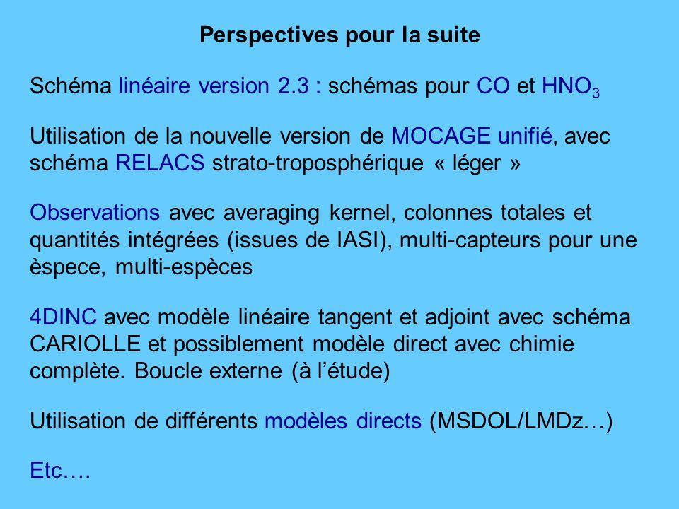 Schéma linéaire version 2.3 : schémas pour CO et HNO 3 Utilisation de la nouvelle version de MOCAGE unifié, avec schéma RELACS strato-troposphérique « léger » Observations avec averaging kernel, colonnes totales et quantités intégrées (issues de IASI), multi-capteurs pour une èspece, multi-espèces 4DINC avec modèle linéaire tangent et adjoint avec schéma CARIOLLE et possiblement modèle direct avec chimie complète.