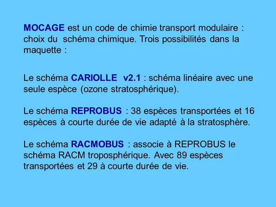 MOCAGE est un code de chimie transport modulaire : choix du schéma chimique.