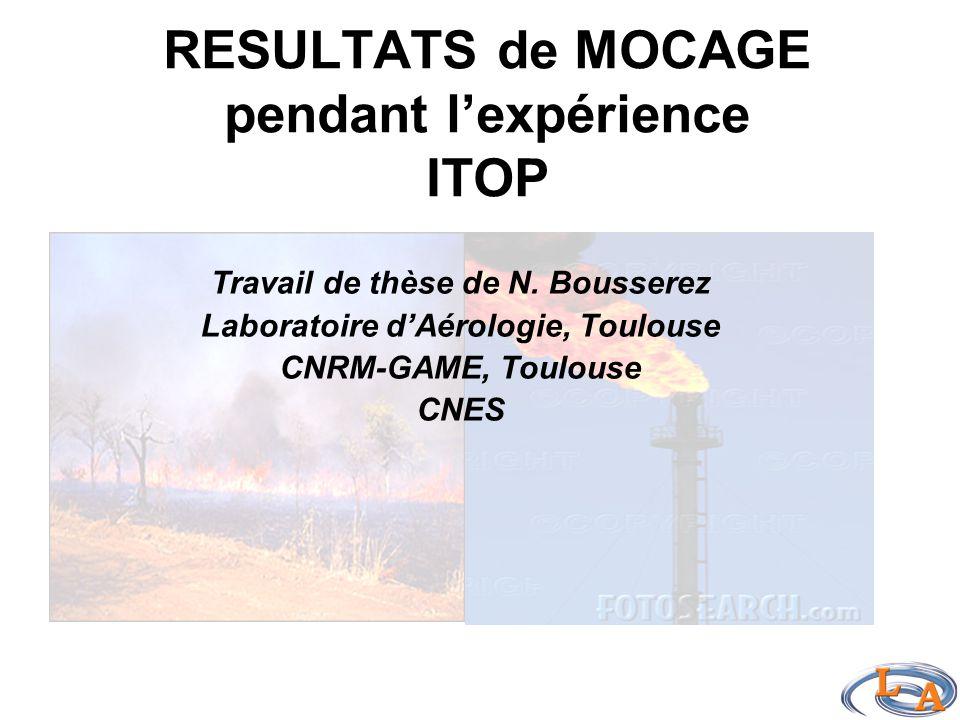 RESULTATS de MOCAGE pendant l'expérience ITOP Travail de thèse de N.