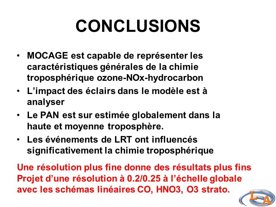 CONCLUSIONS MOCAGE est capable de représenter les caractéristiques générales de la chimie troposphérique ozone-NOx-hydrocarbon L'impact des éclairs dans le modèle est à analyser Le PAN est sur estimée globalement dans la haute et moyenne troposphère.
