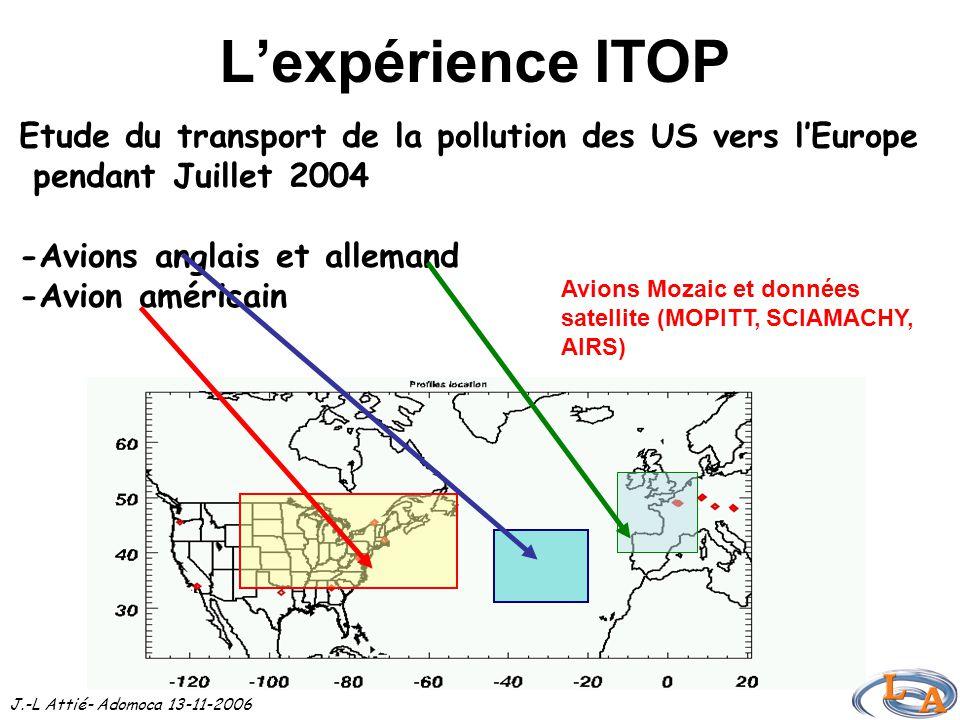 L'expérience ITOP Etude du transport de la pollution des US vers l'Europe pendant Juillet 2004 -Avions anglais et allemand -Avion américain J.-L Attié- Adomoca 13-11-2006 Avions Mozaic et données satellite (MOPITT, SCIAMACHY, AIRS)
