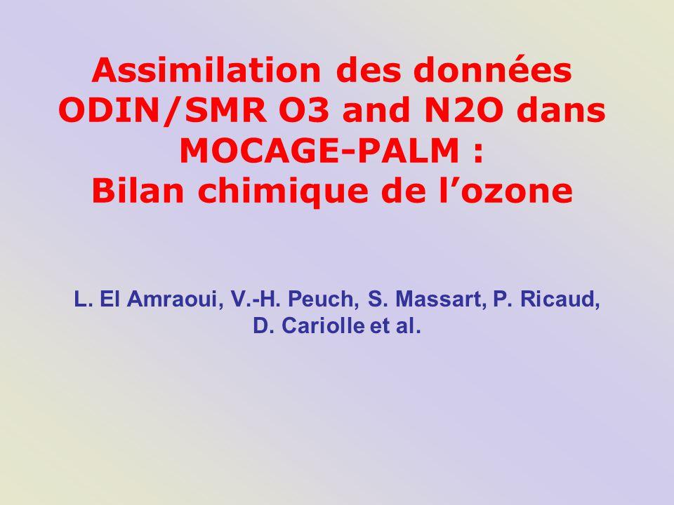 MOCAGE (Modèle de Chimie Atmosphérique à Grand Echelle): 3D-CTM Resolution: –47 Niveaux de pression: de 1000 à 5 hPa (0  35 km)  (~ 800 m) –Résolution 2°x2° Dynamics: –Forçage météorologique: modèle de Météo-France ARPEGE Chemistry: –Many chemical schemes : RACMOBUS: troposphère + stratosphère REPROBUS: stratosphère CARIOLLE: paramétrisation de O3 dans la stratosphère …