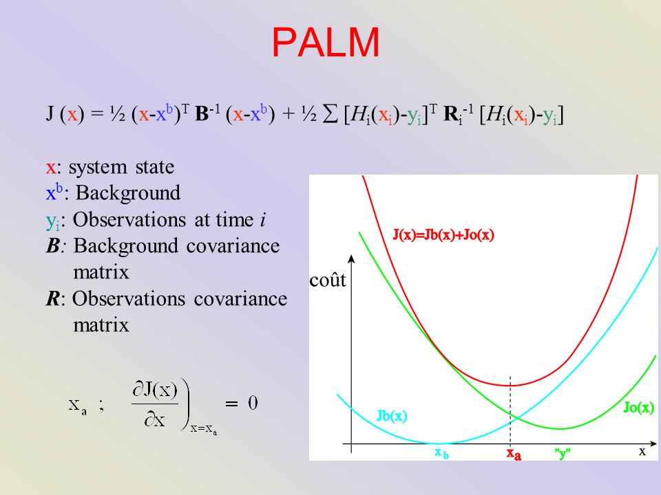 PALM J (x) = ½ (x-x b ) T B -1 (x-x b ) + ½  [H i (x i )-y i ] T R i -1 [H i (x i )-y i ] x: system state x b : Background y i : Observations at time i B: Background covariance matrix R: Observations covariance matrix