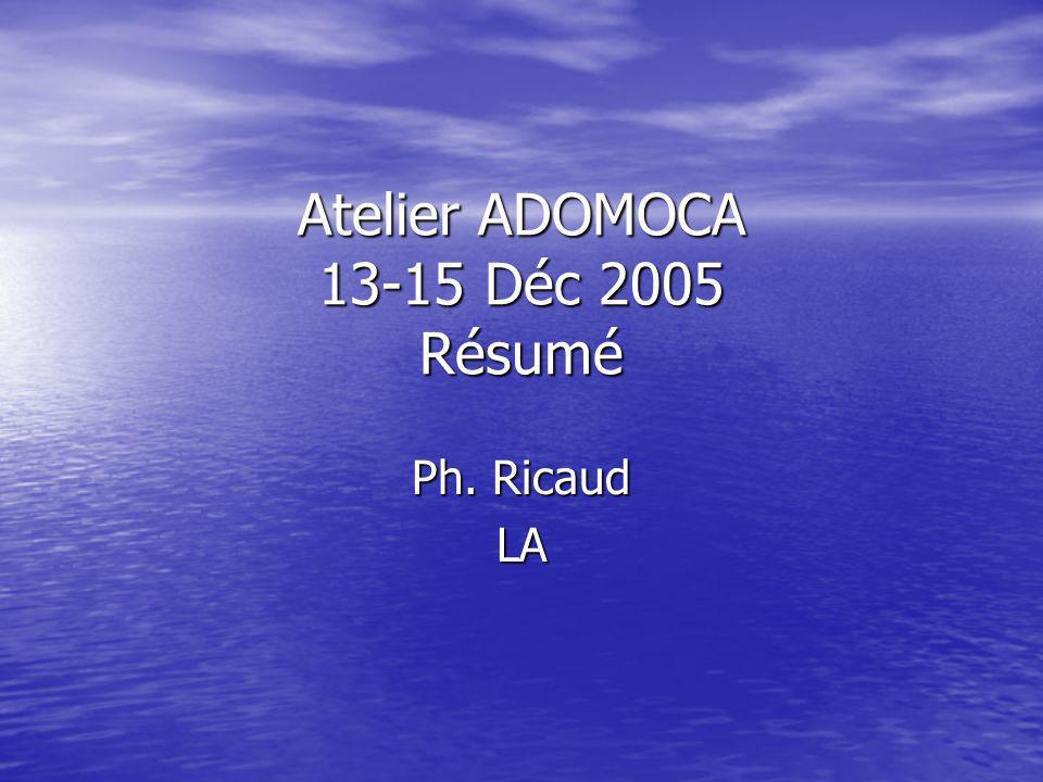 Atelier ADOMOCA 13-15 Déc 2005 Résumé Ph. Ricaud LA