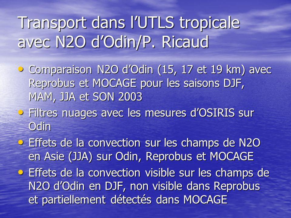 Transport dans l'UTLS tropicale avec N2O d'Odin/P.