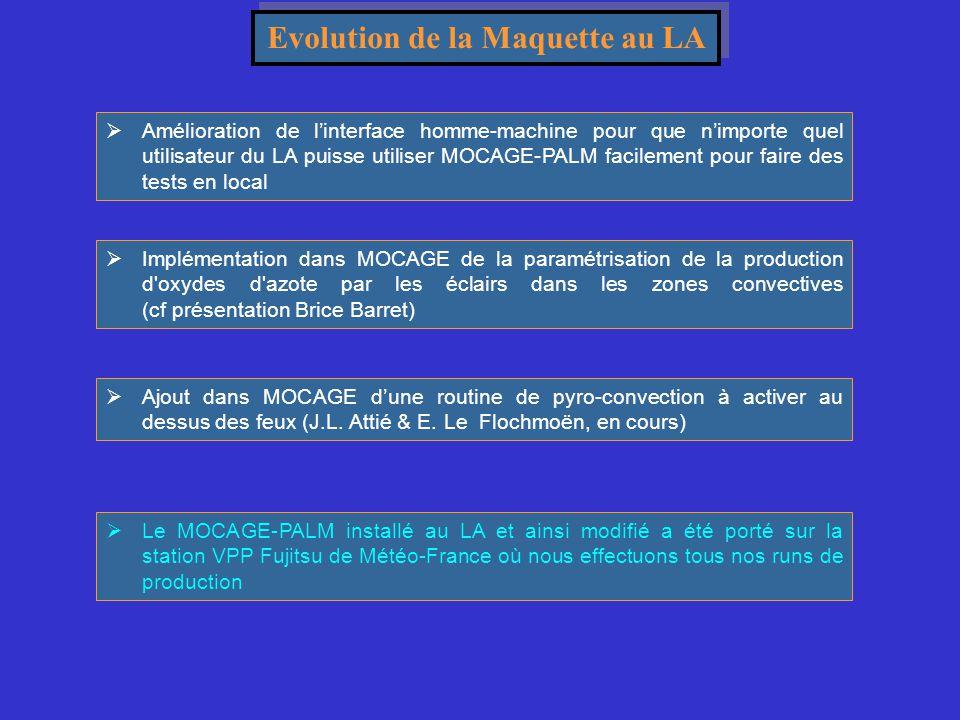 Evolution de la Maquette au LA  Amélioration de l'interface homme-machine pour que n'importe quel utilisateur du LA puisse utiliser MOCAGE-PALM facil