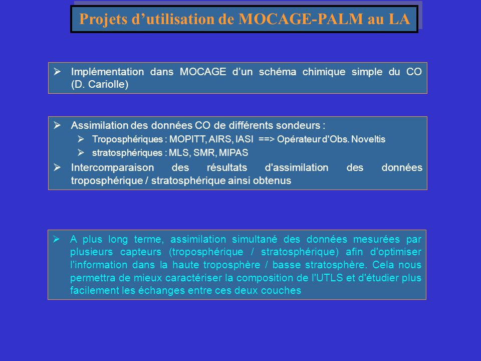 Projets d'utilisation de MOCAGE-PALM au LA  Assimilation des données CO de différents sondeurs :  Troposphériques : MOPITT, AIRS, IASI ==> Opérateur
