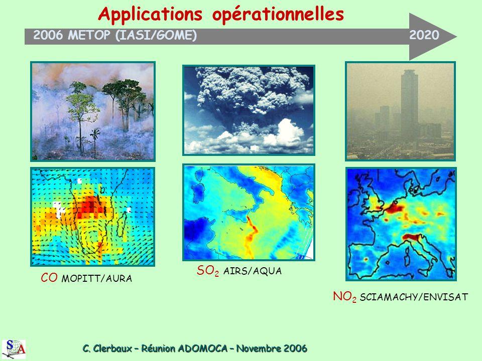 C. Clerbaux – Réunion ADOMOCA – Novembre 2006 C. Clerbaux – Réunion ADOMOCA – Novembre 2006 Applications opérationnelles 2006 METOP (IASI/GOME) 2020 C