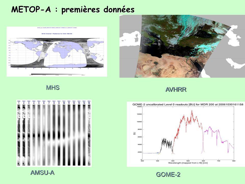MHS AVHRR AMSU-A GOME-2 METOP-A : premières données