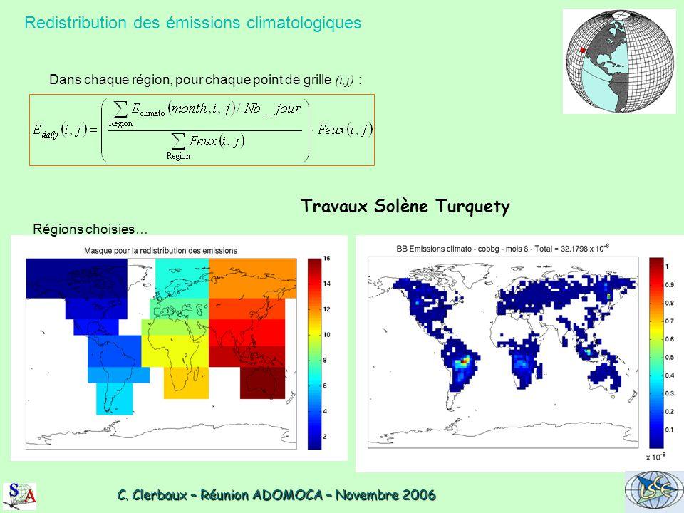 C. Clerbaux – Réunion ADOMOCA – Novembre 2006 C. Clerbaux – Réunion ADOMOCA – Novembre 2006 Redistribution des émissions climatologiques Dans chaque r