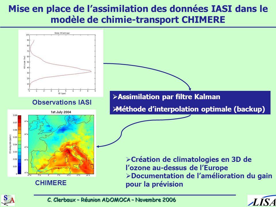 C. Clerbaux – Réunion ADOMOCA – Novembre 2006 C. Clerbaux – Réunion ADOMOCA – Novembre 2006 Mise en place de l'assimilation des données IASI dans le m