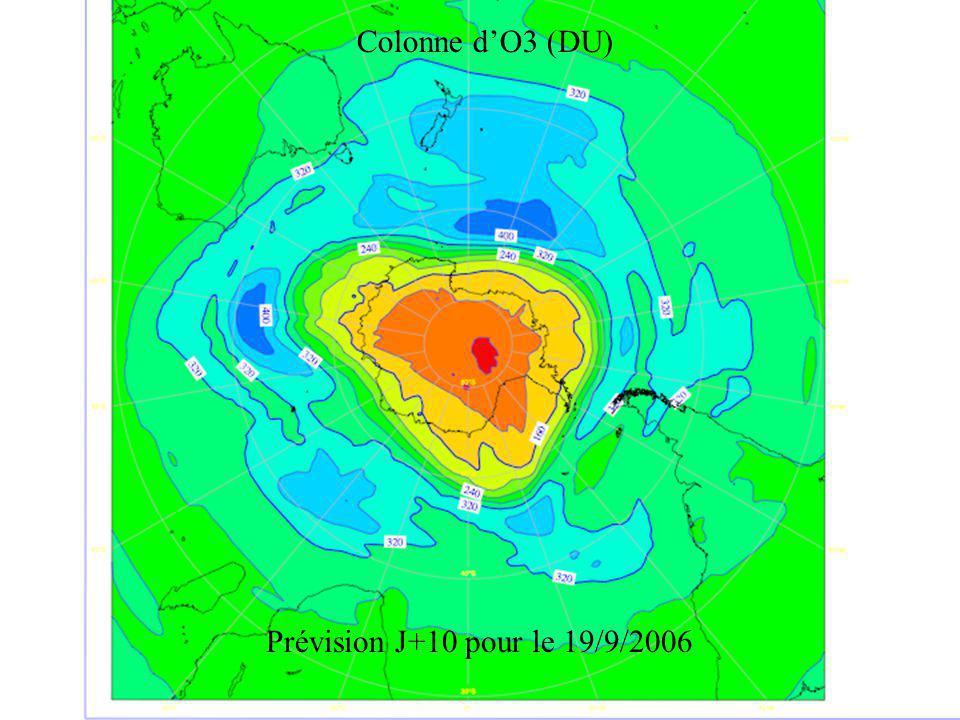 Colonne d'O3 (DU) Prévision J+10 pour le 19/9/2006