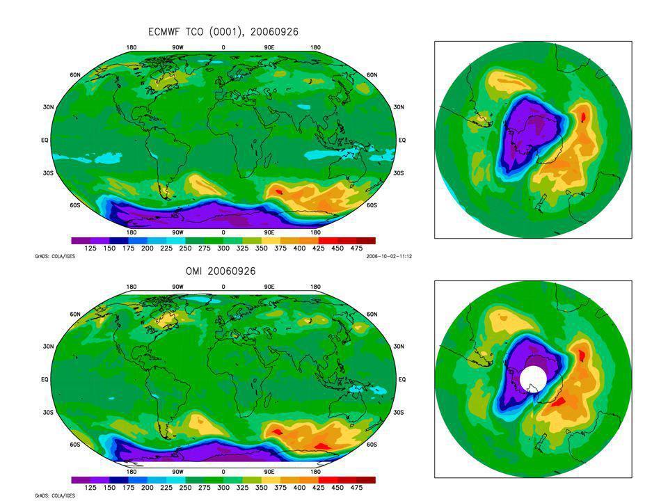 Colonne d'O3 (DU) Analyse du 6/9/2006 Mesure de l'instrument TOMS/OMI