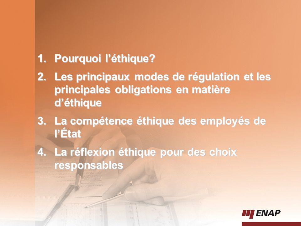 2 1.Pourquoi l'éthique? 2.Les principaux modes de régulation et les principales obligations en matière d'éthique 3.La compétence éthique des employés