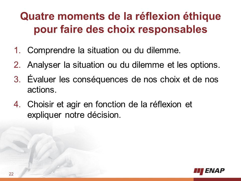 22 Quatre moments de la réflexion éthique pour faire des choix responsables 1.Comprendre la situation ou du dilemme. 2.Analyser la situation ou du dil