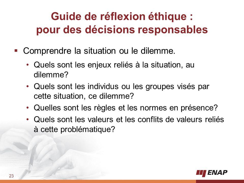 23 Guide de réflexion éthique : pour des décisions responsables  Comprendre la situation ou le dilemme. Quels sont les enjeux reliés à la situation,