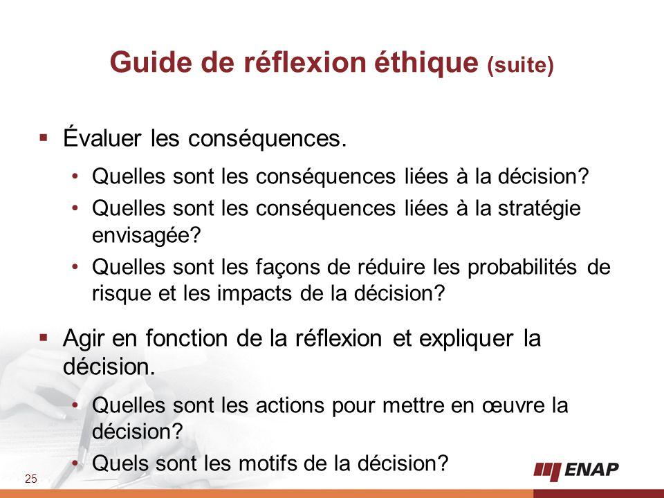25 Guide de réflexion éthique (suite)  Évaluer les conséquences. Quelles sont les conséquences liées à la décision? Quelles sont les conséquences lié
