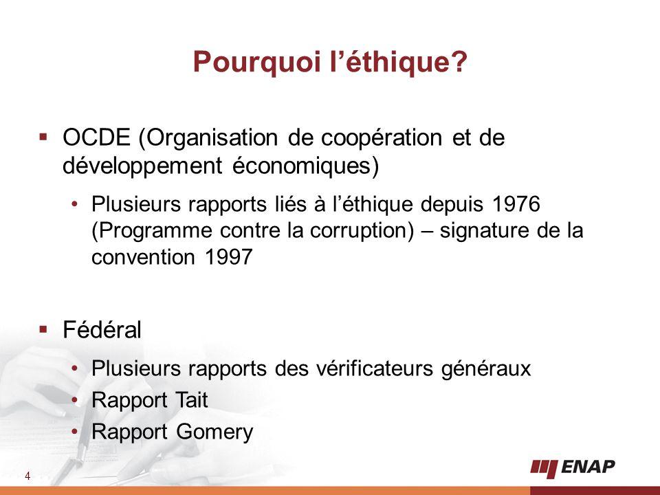 4 Pourquoi l'éthique?  OCDE (Organisation de coopération et de développement économiques) Plusieurs rapports liés à l'éthique depuis 1976 (Programme