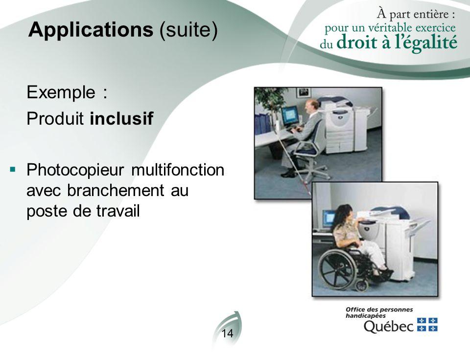 14 Applications (suite) Exemple : Produit inclusif  Photocopieur multifonction avec branchement au poste de travail