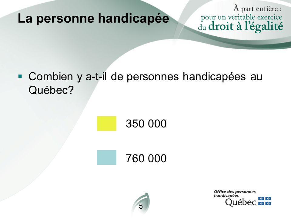 5 La personne handicapée  Combien y a-t-il de personnes handicapées au Québec? 350 000 760 000