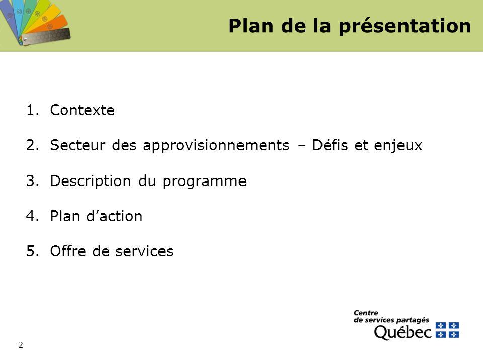 2 Plan de la présentation 1.Contexte 2.Secteur des approvisionnements – Défis et enjeux 3.Description du programme 4.Plan d'action 5.Offre de services