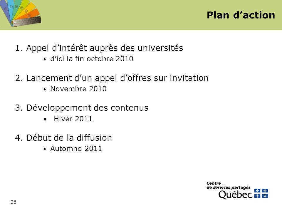 26 Plan d'action 1. Appel d'intérêt auprès des universités d'ici la fin octobre 2010 2.