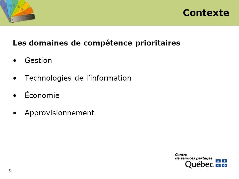 9 Les domaines de compétence prioritaires Gestion Technologies de l'information Économie Approvisionnement Contexte