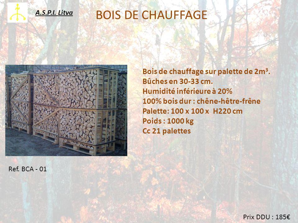 BOIS DE CHAUFFAGE Bois de chauffage sur palette de 2m 3.