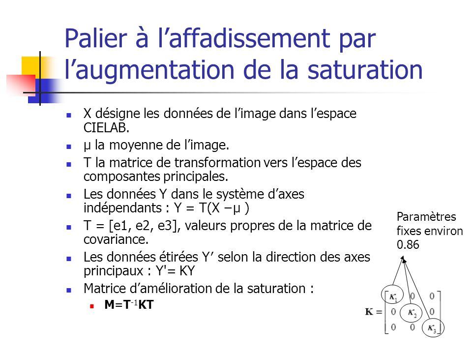 Palier à l'affadissement par l'augmentation de la saturation X désigne les données de l'image dans l'espace CIELAB.