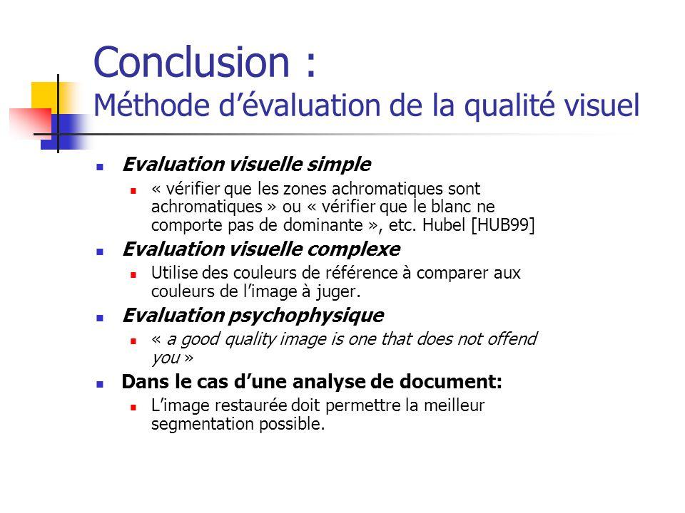 Conclusion : Méthode d'évaluation de la qualité visuel Evaluation visuelle simple « vérifier que les zones achromatiques sont achromatiques » ou « vérifier que le blanc ne comporte pas de dominante », etc.