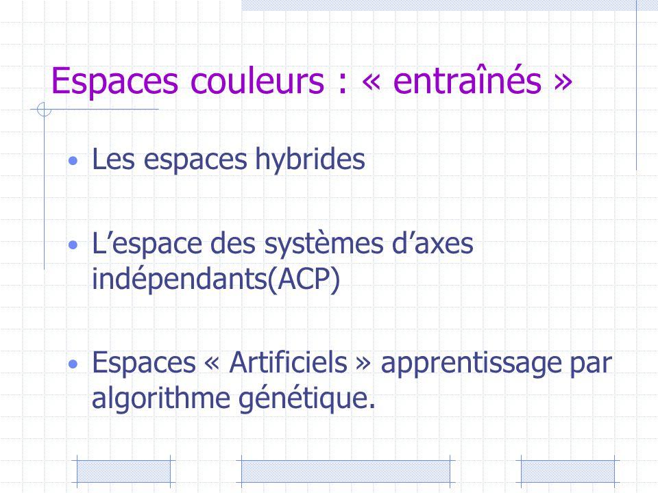 Espaces couleurs : « entraînés » Les espaces hybrides L'espace des systèmes d'axes indépendants(ACP) Espaces « Artificiels » apprentissage par algorit