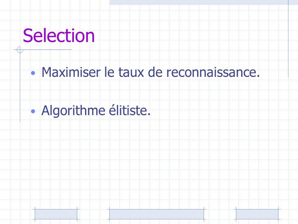 Selection Maximiser le taux de reconnaissance. Algorithme élitiste.