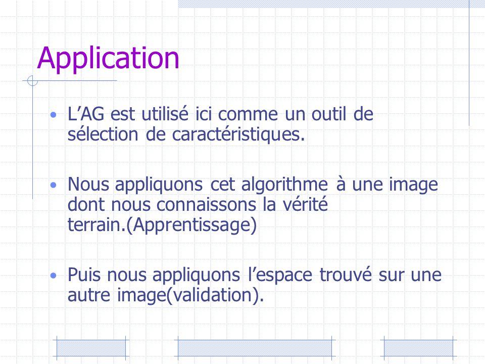 Application L'AG est utilisé ici comme un outil de sélection de caractéristiques. Nous appliquons cet algorithme à une image dont nous connaissons la