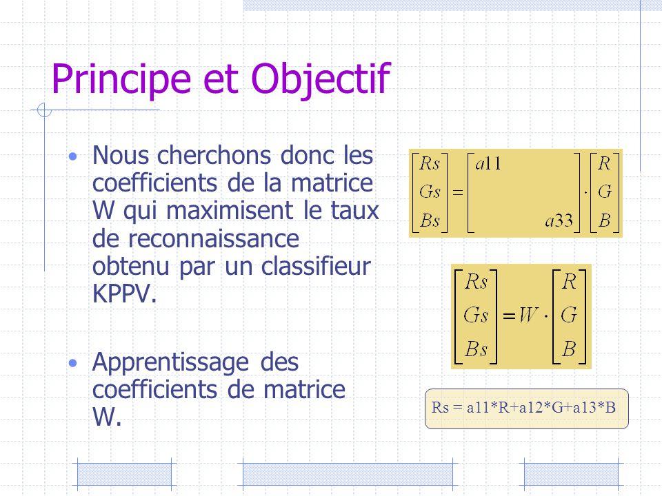 Principe et Objectif Nous cherchons donc les coefficients de la matrice W qui maximisent le taux de reconnaissance obtenu par un classifieur KPPV. App