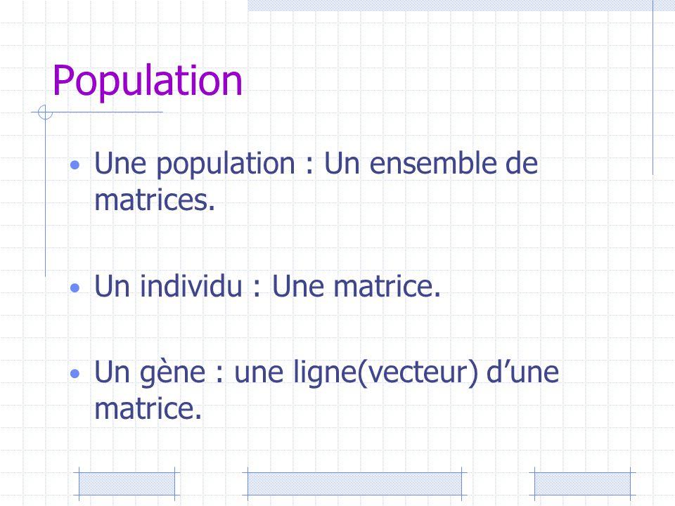 Population Une population : Un ensemble de matrices. Un individu : Une matrice. Un gène : une ligne(vecteur) d'une matrice.