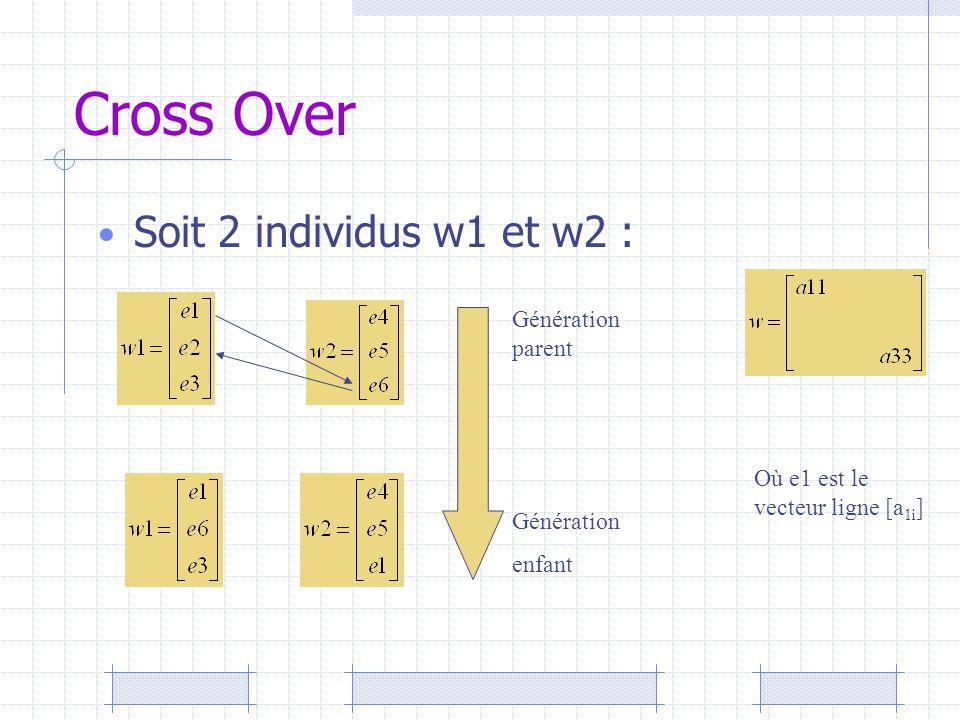 Cross Over Soit 2 individus w1 et w2 : Génération parent Génération enfant Où e1 est le vecteur ligne [a 1i ]