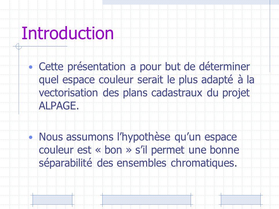 Introduction Cette présentation a pour but de déterminer quel espace couleur serait le plus adapté à la vectorisation des plans cadastraux du projet A