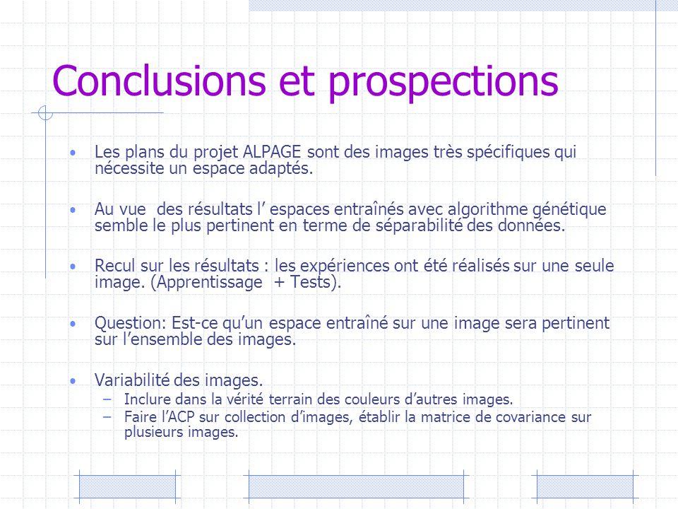 Conclusions et prospections Les plans du projet ALPAGE sont des images très spécifiques qui nécessite un espace adaptés. Au vue des résultats l' espac