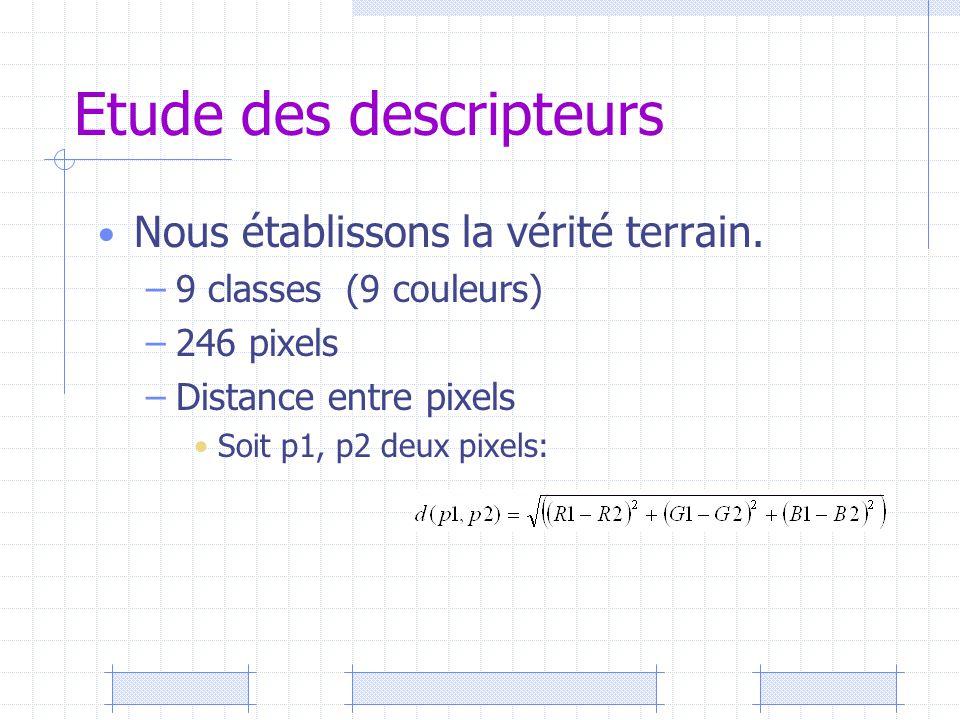 Etude des descripteurs Nous établissons la vérité terrain. –9 classes (9 couleurs) –246 pixels –Distance entre pixels Soit p1, p2 deux pixels: