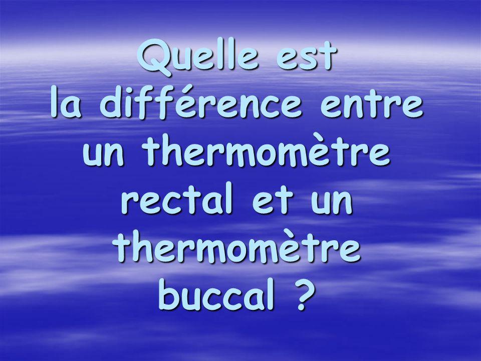 Quelle est la différence entre un thermomètre rectal et un thermomètre buccal ?