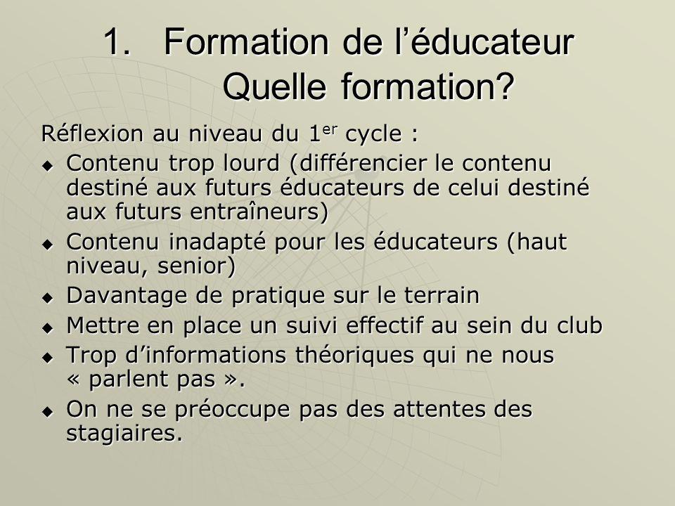 1.Formation de l'éducateur Quelle formation.
